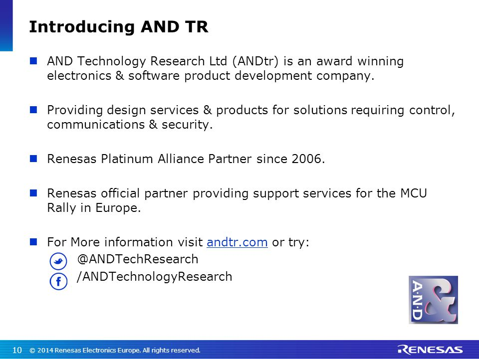 Introducing AND TR AND Technology Research Ltd (ANDtr) is an award winning electronics & software product development company.