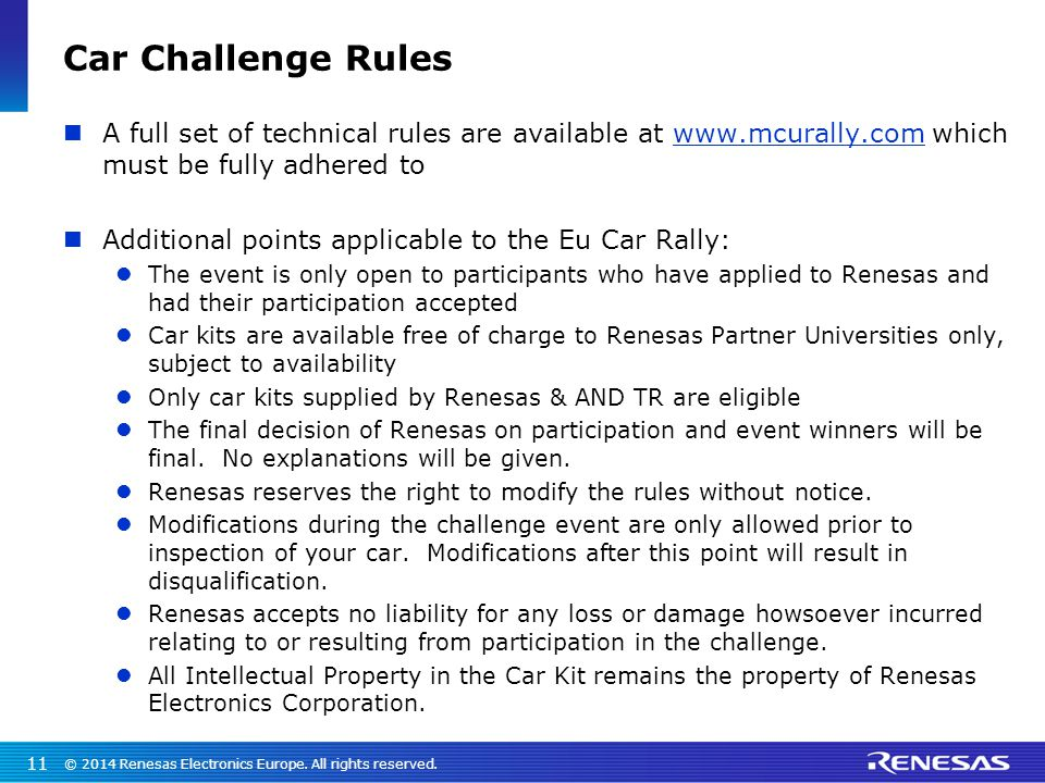 Car Challenge Rules A full set of technical rules are available at www.mcurally.com which must be fully adhered to.