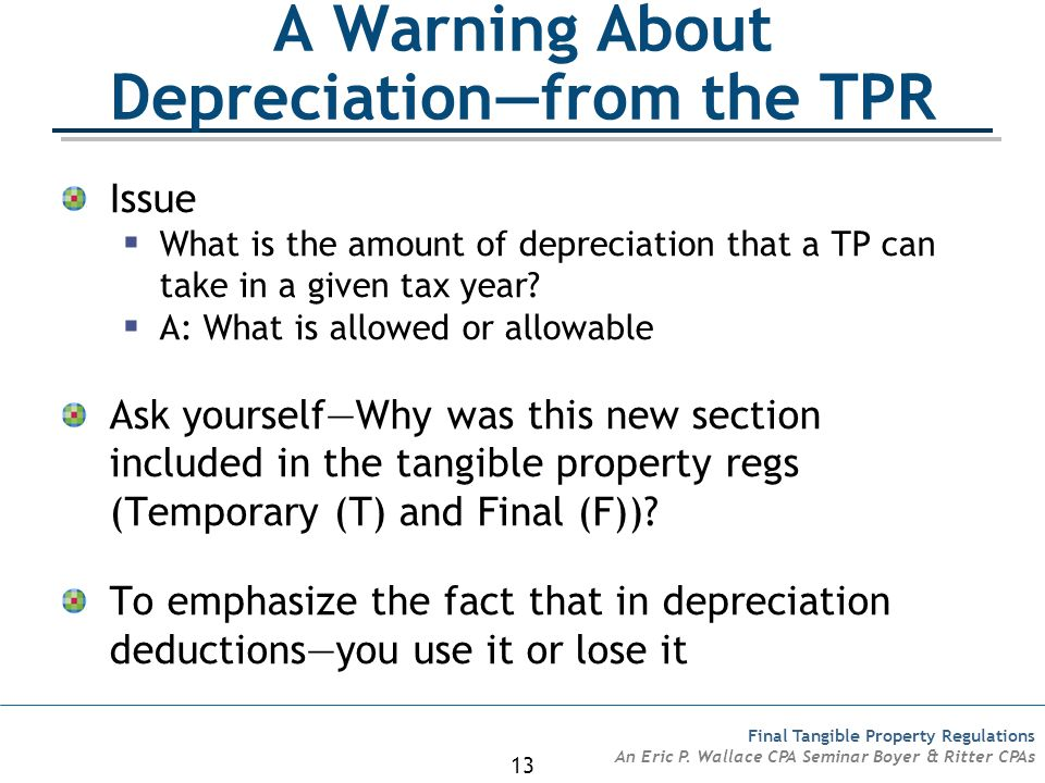 A Warning About Depreciation—from the TPR