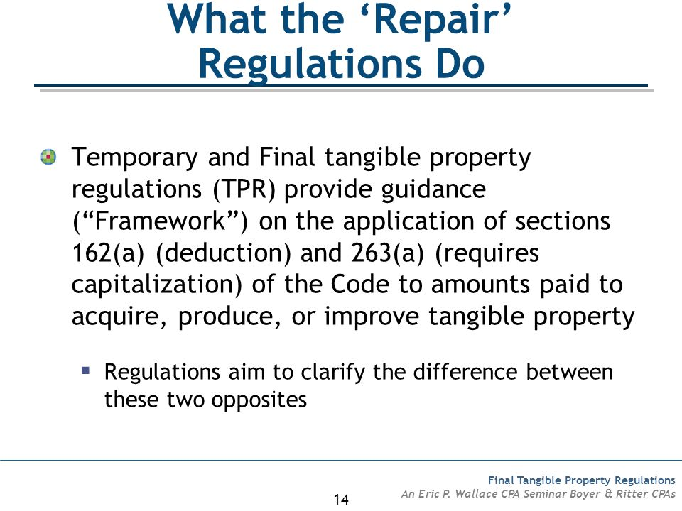 What the 'Repair' Regulations Do