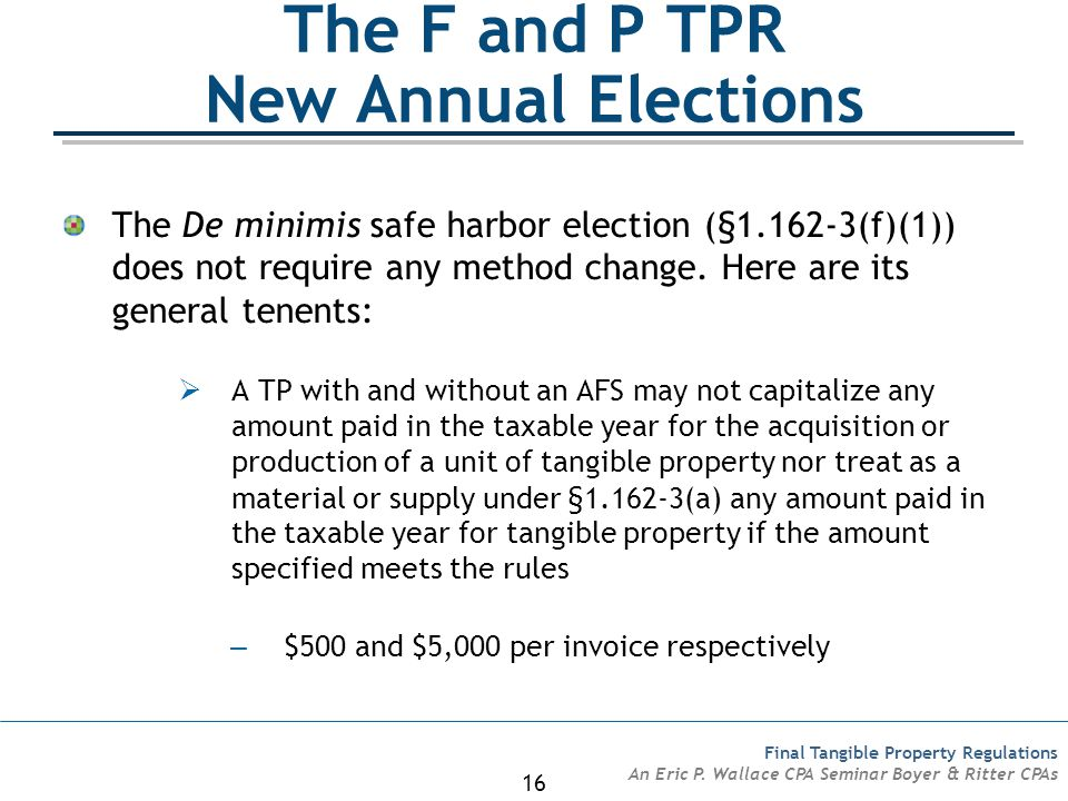The F and P TPR New Annual Elections