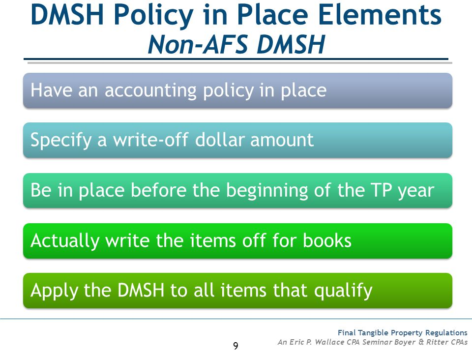 DMSH Policy in Place Elements Non-AFS DMSH