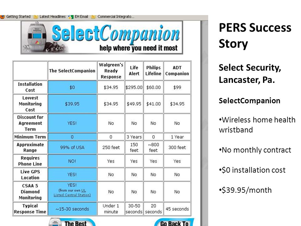 PERS Success Story Select Security, Lancaster, Pa. SelectCompanion