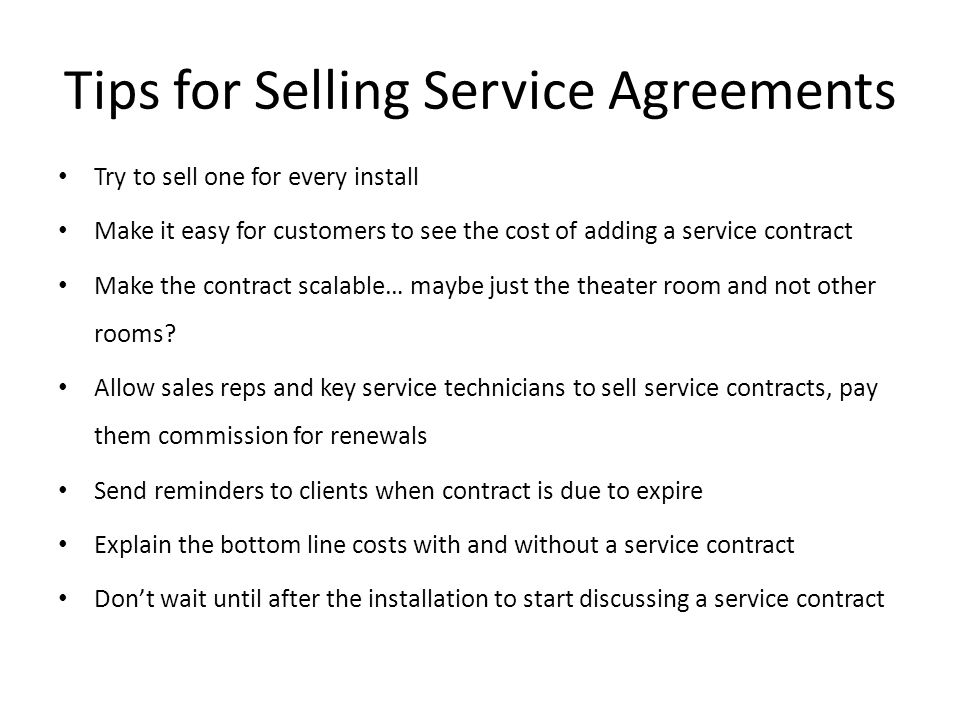 Tips for Selling Service Agreements