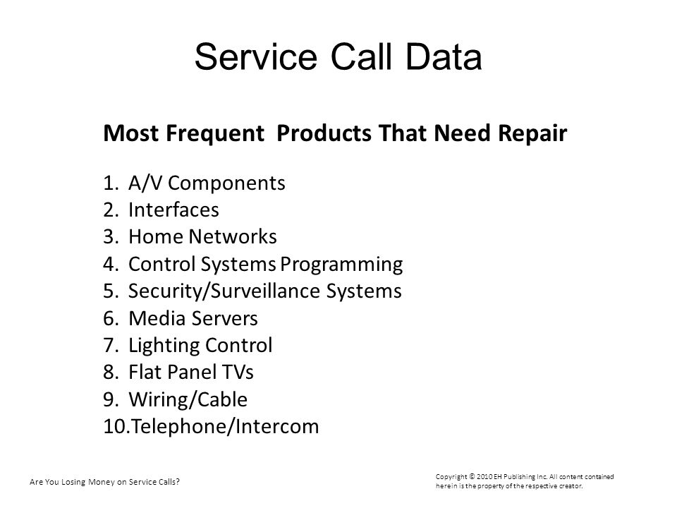 Service Call Data Most Frequent Products That Need Repair