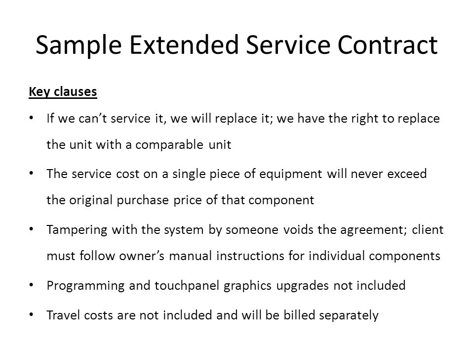 Sample Extended Service Contract
