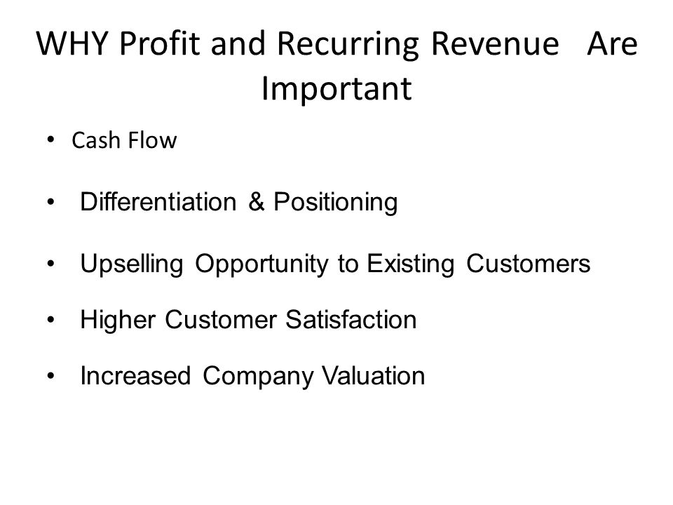 WHY Profit and Recurring Revenue Are Important