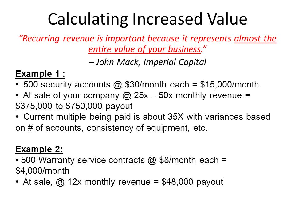 Calculating Increased Value