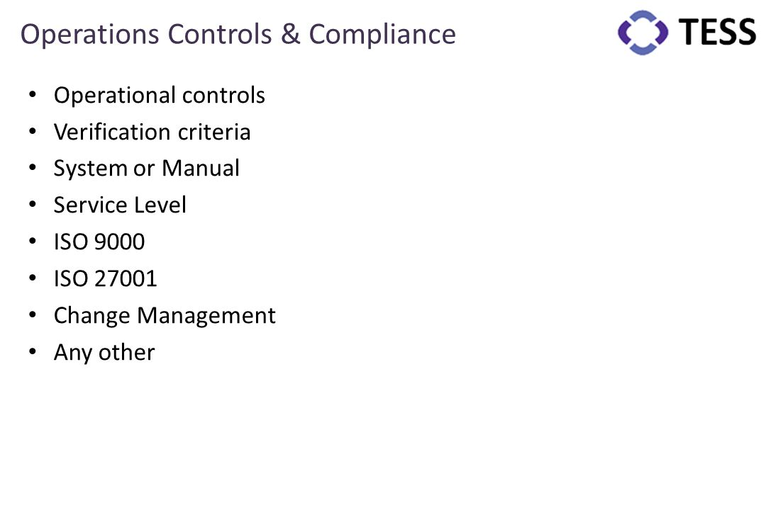Operations Controls & Compliance
