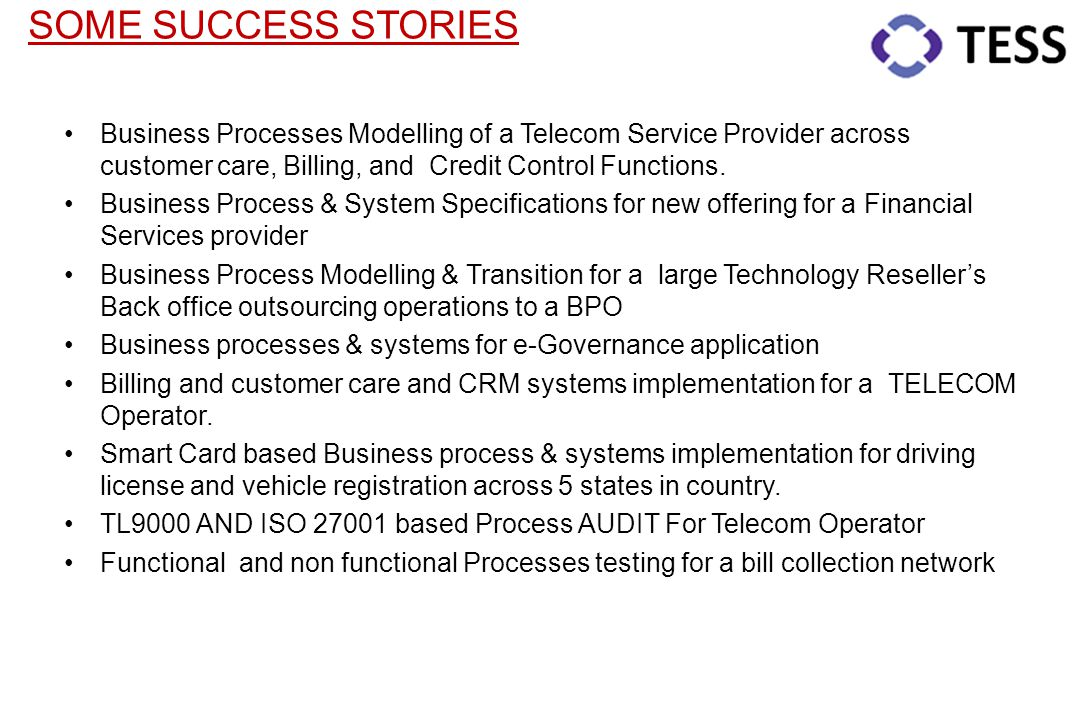 SOME SUCCESS STORIES Business Processes Modelling of a Telecom Service Provider across customer care, Billing, and Credit Control Functions.