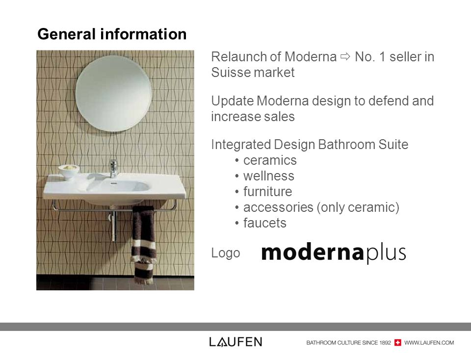 General information Relaunch of Moderna  No. 1 seller in Suisse market. Update Moderna design to defend and increase sales.