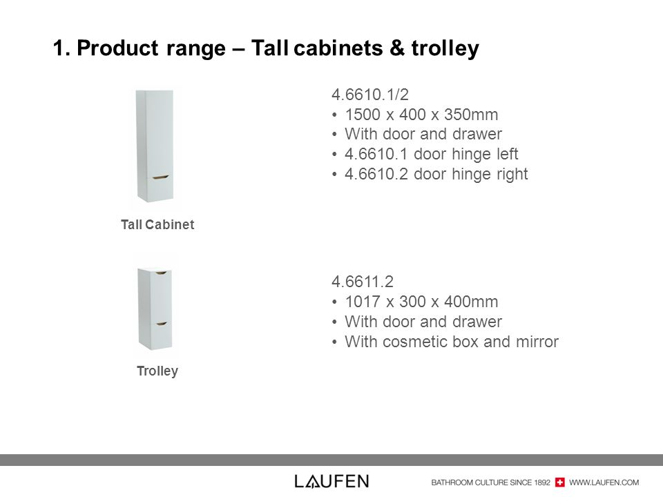 1. Product range – Tall cabinets & trolley