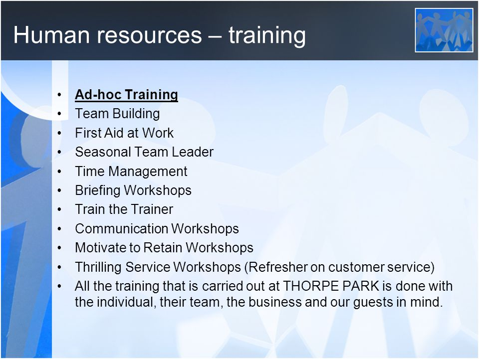 Human resources – training