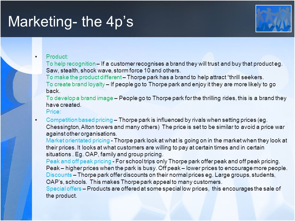 Marketing- the 4p's