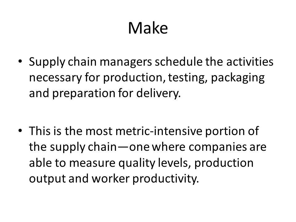 Make Supply chain managers schedule the activities necessary for production, testing, packaging and preparation for delivery.