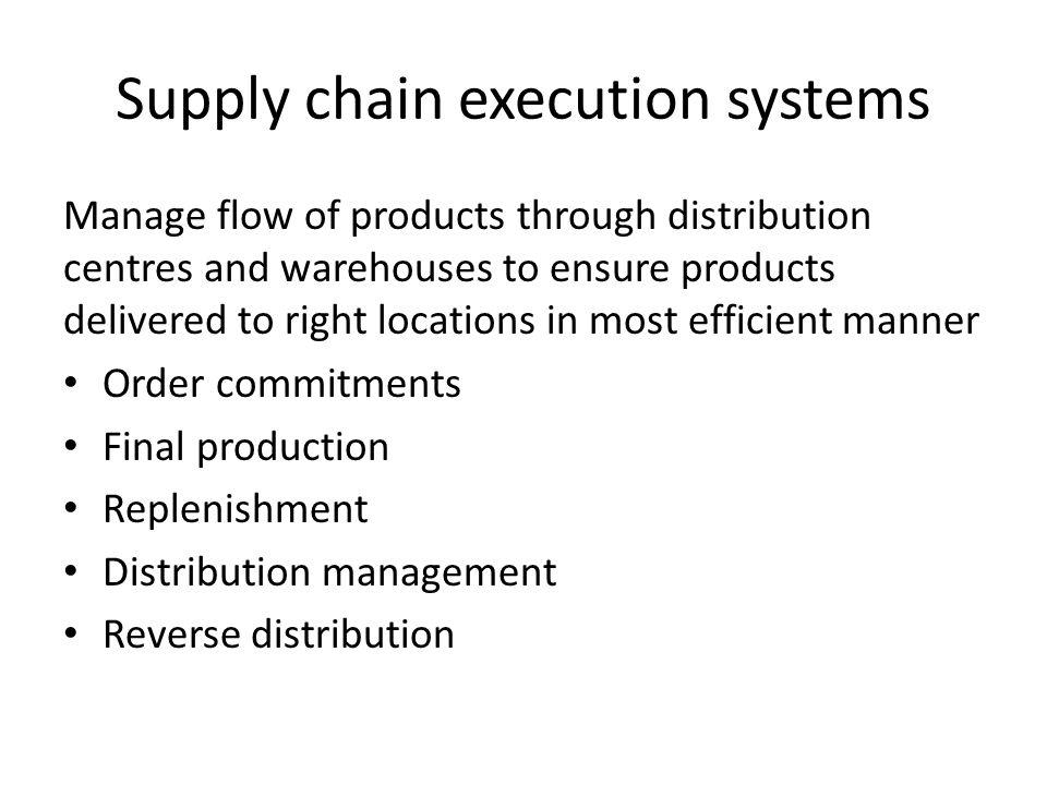 Supply chain execution systems