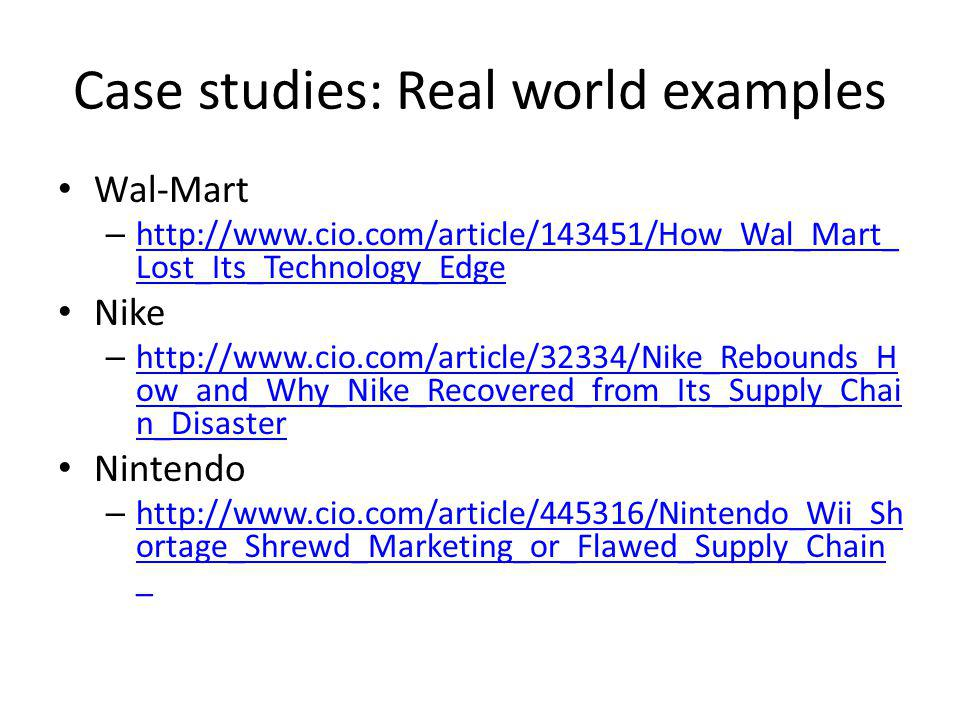 Case studies: Real world examples
