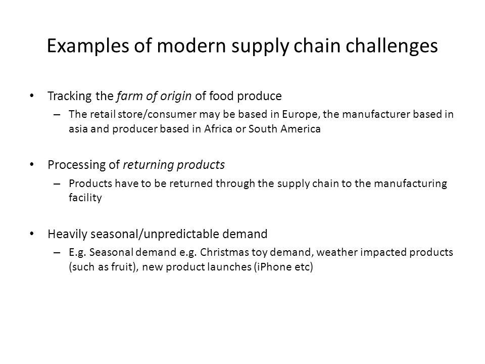 Examples of modern supply chain challenges