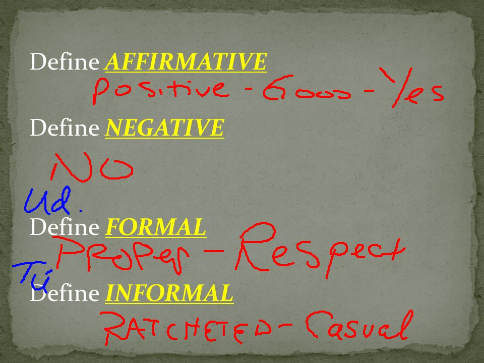 Define AFFIRMATIVE Define NEGATIVE Define FORMAL Define INFORMAL