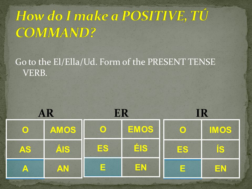 How do I make a POSITIVE, TÚ COMMAND