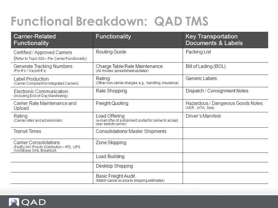 Functional Breakdown: QAD TMS