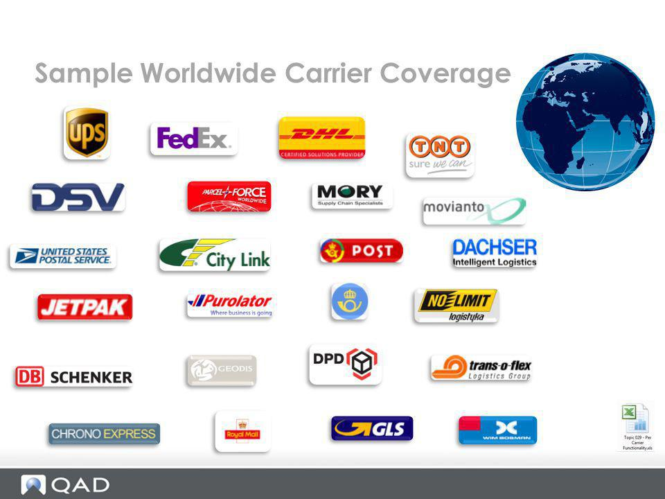 Sample Worldwide Carrier Coverage