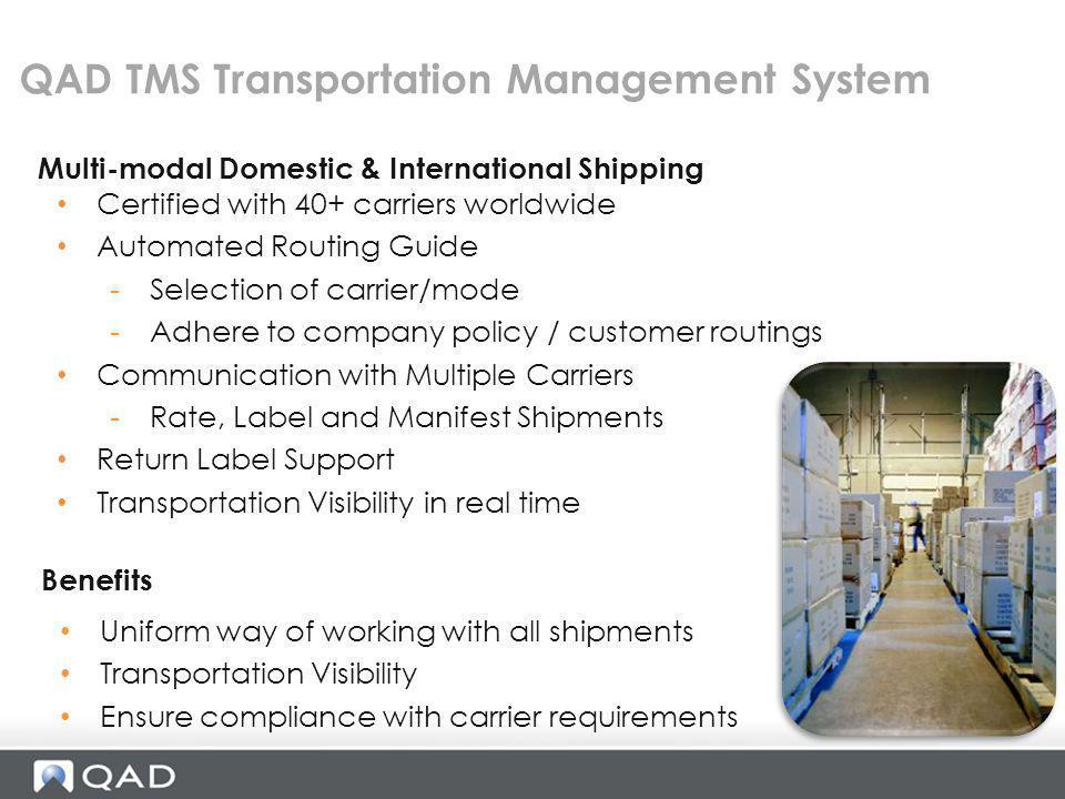 QAD TMS Transportation Management System