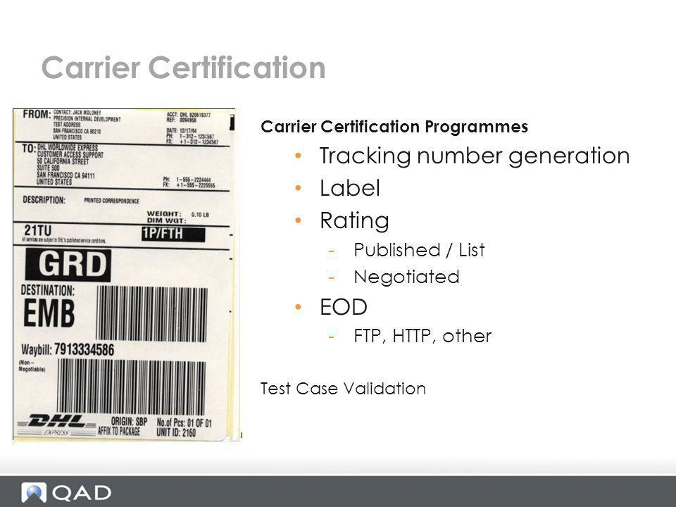 Carrier Certification