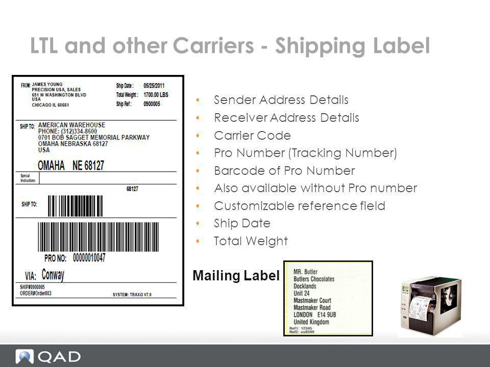 LTL and other Carriers - Shipping Label