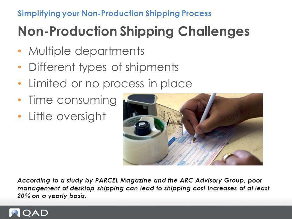 Non-Production Shipping Challenges