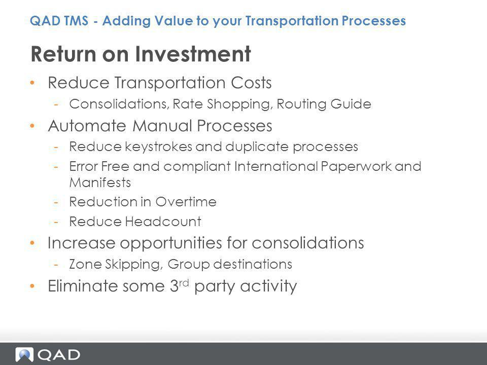 Return on Investment Reduce Transportation Costs