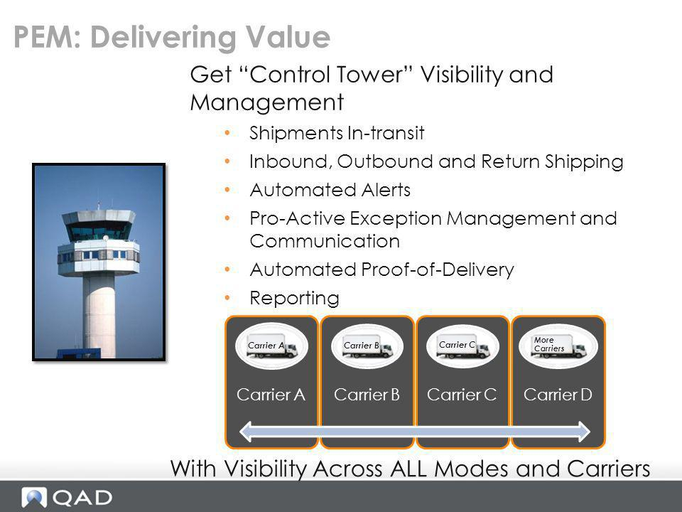PEM: Delivering Value Get Control Tower Visibility and Management