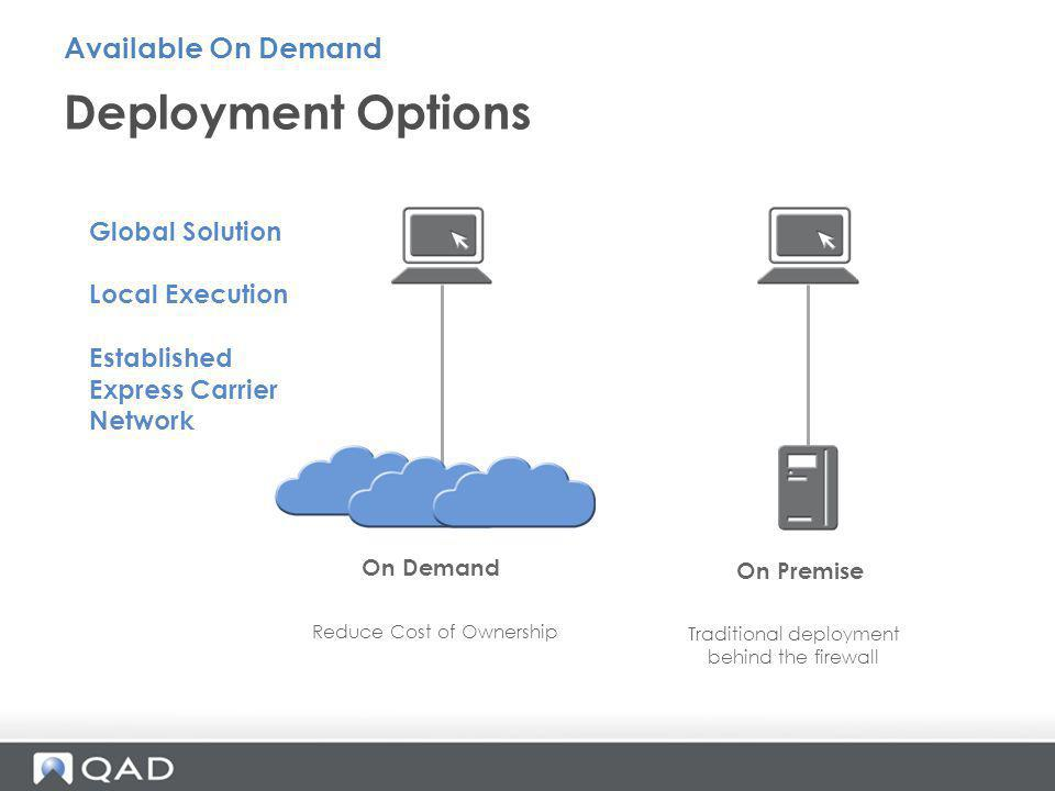 Deployment Options Available On Demand Global Solution Local Execution