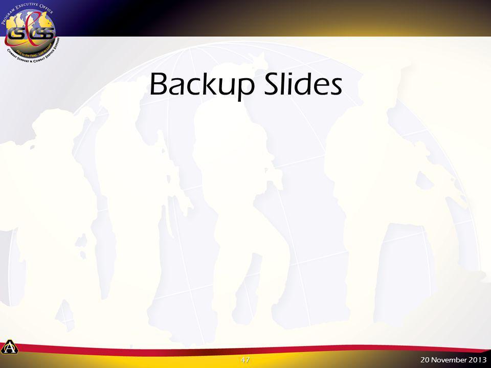 Backup Slides 20 November 2013