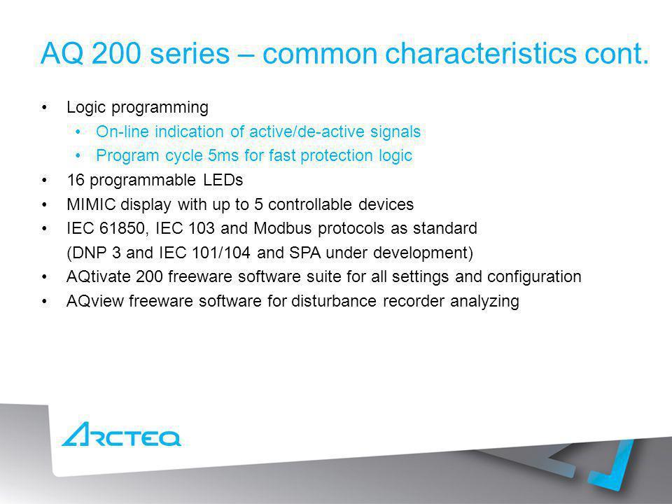 AQ 200 series – common characteristics cont.