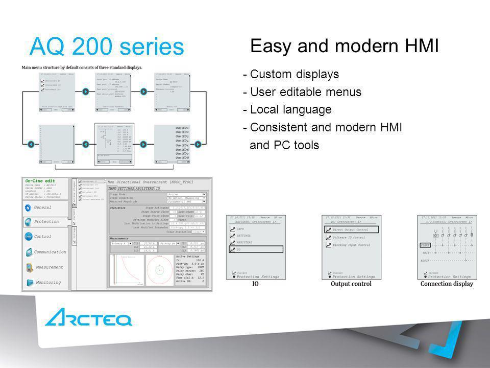 AQ 200 series Easy and modern HMI - Custom displays
