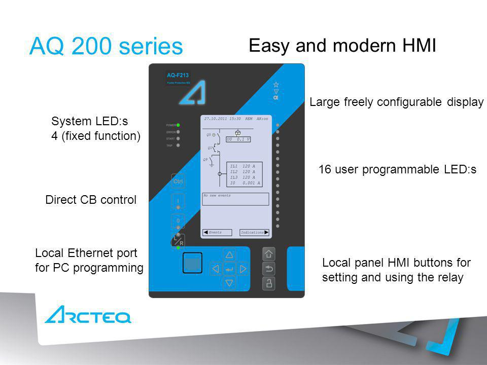 AQ 200 series Easy and modern HMI Large freely configurable display