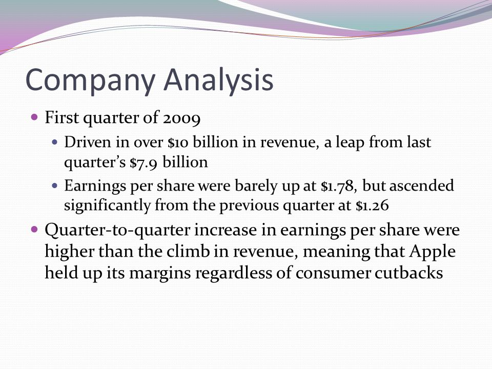 Company Analysis First quarter of 2009