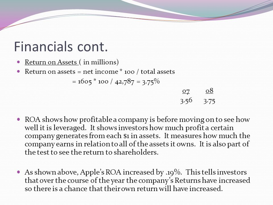 Financials cont. Return on Assets ( in millions) Return on assets = net income * 100 / total assets.