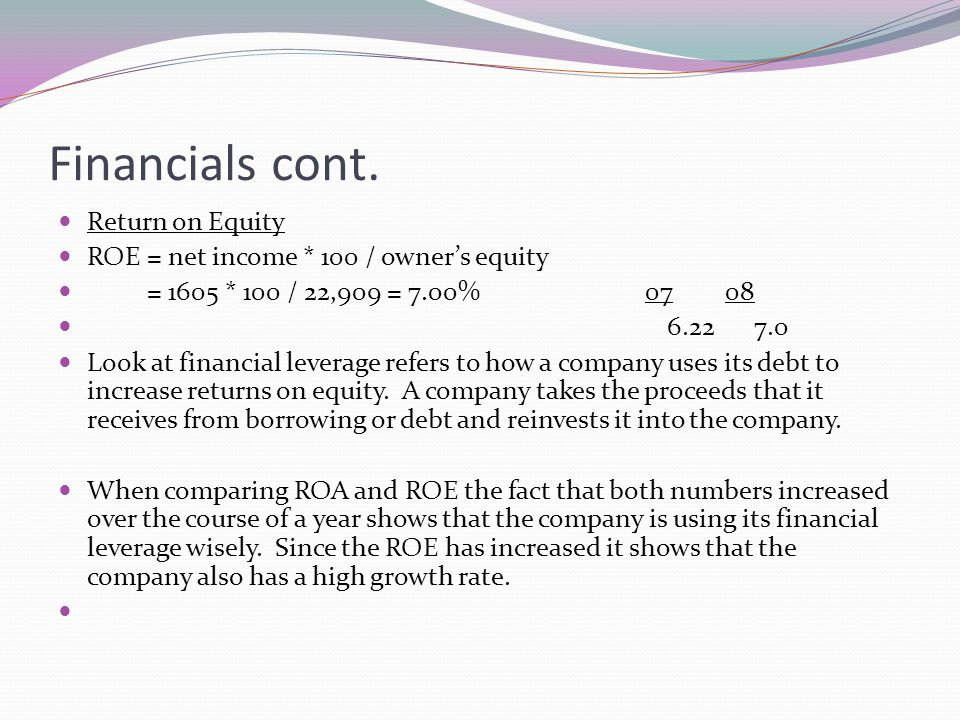 Financials cont. Return on Equity