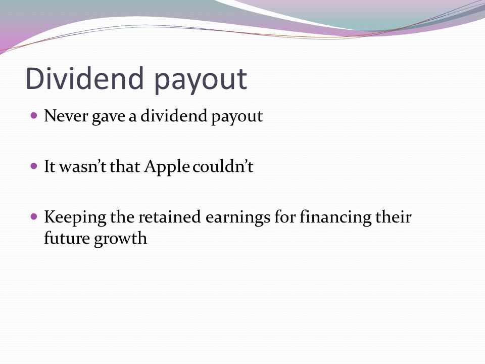 Dividend payout Never gave a dividend payout