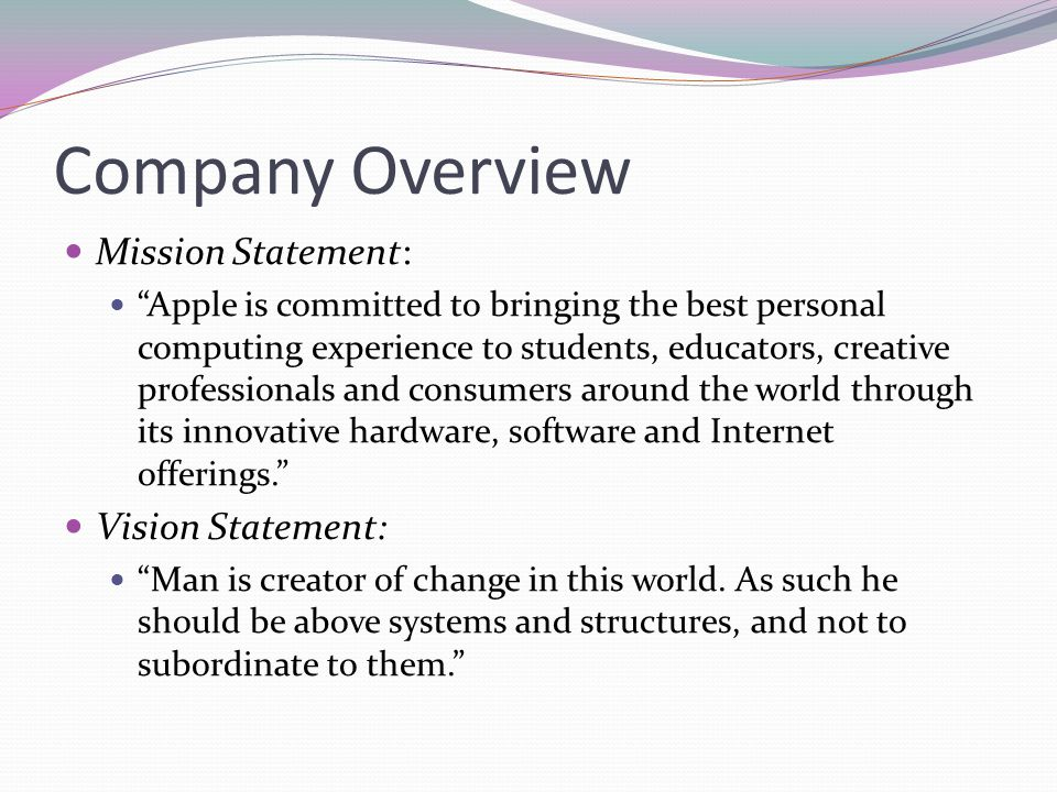 Company Overview Mission Statement: Vision Statement: