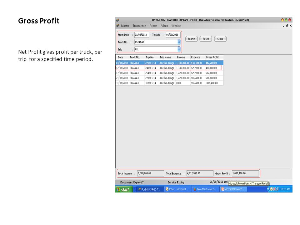 Gross Profit Net Profit gives profit per truck, per trip for a specified time period.