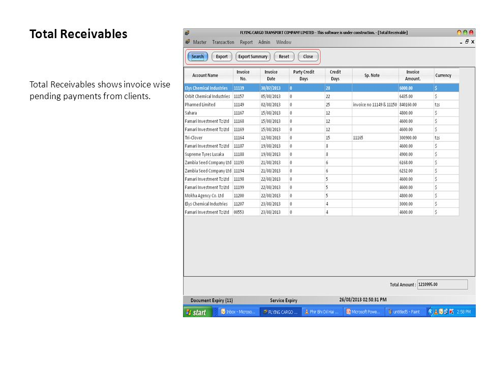 Total Receivables Total Receivables shows invoice wise pending payments from clients.