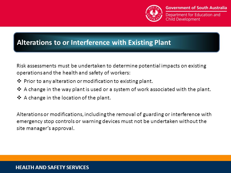 Alterations to or Interference with Existing Plant
