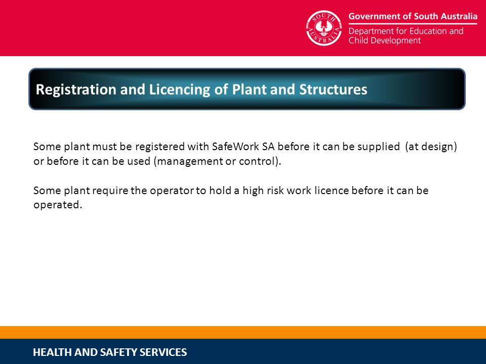 Registration and Licencing of Plant and Structures