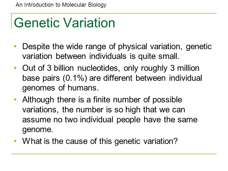 Genetic Variation Despite the wide range of physical variation, genetic variation between individuals is quite small.