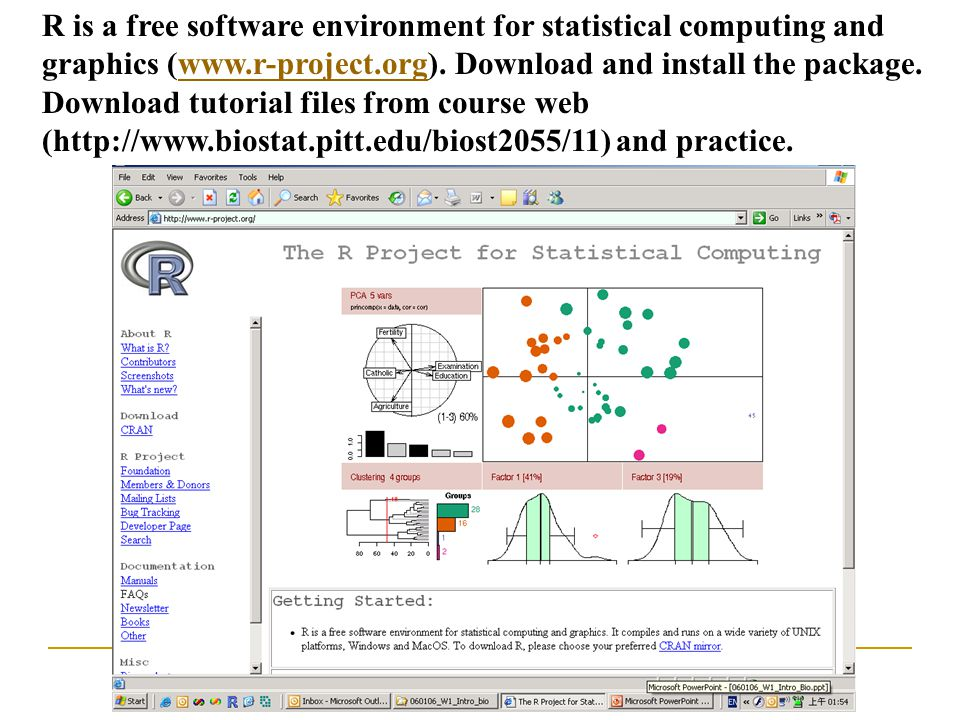R is a free software environment for statistical computing and graphics (www.r-project.org).