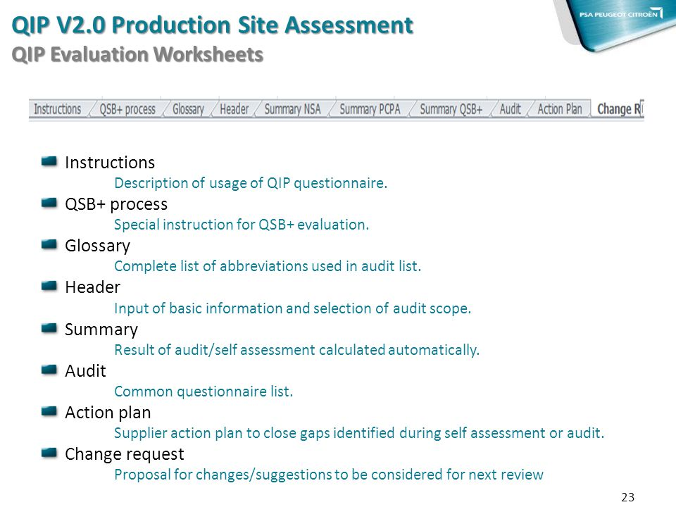 QIP V2.0 Production Site Assessment QIP Evaluation Worksheets