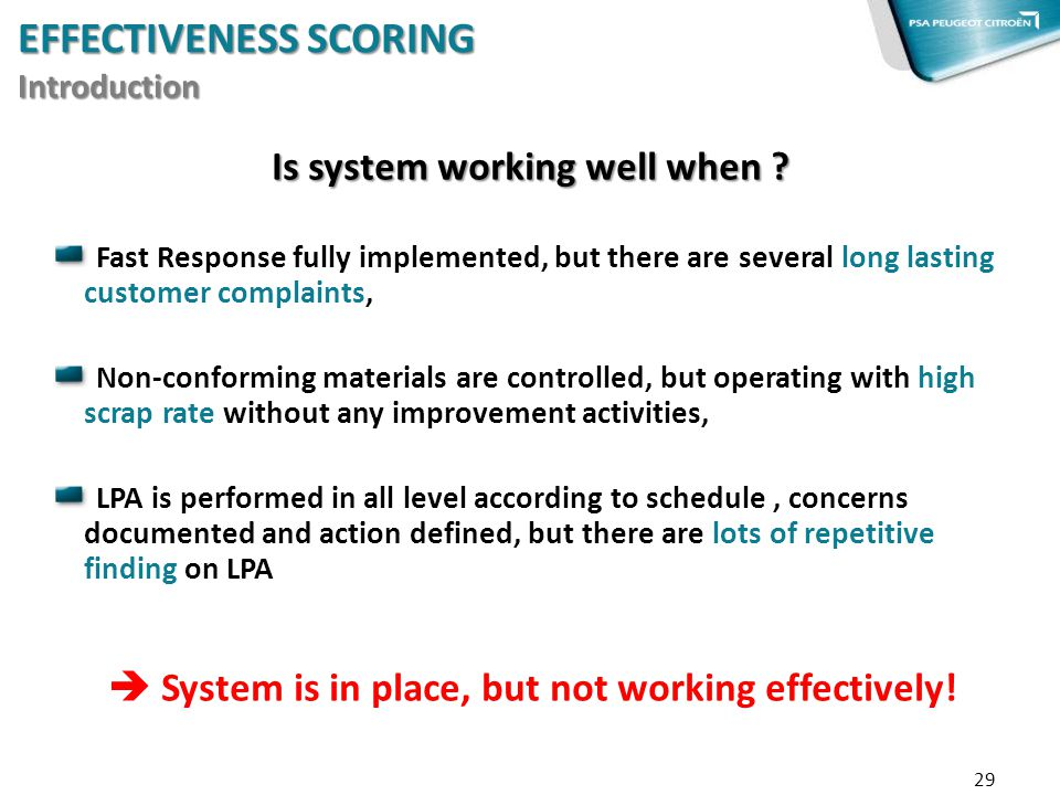 EFFECTIVENESS SCORING Introduction